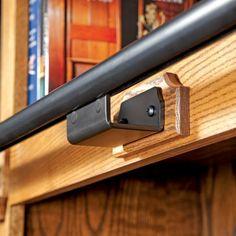 Rockler Classic/Vintage Rolling Library Ladder - Track Hardware, Satin Black