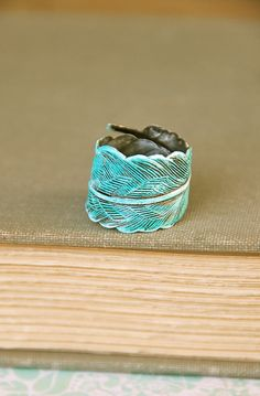 Bohemian blue feather ring