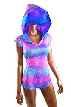 Pink,  Purple & Blue Shattered Glass Holographic Bodysuit Romper Hoodie with Boy Cut Leg UV Rave Clubwear EDM Festival  -E7766
