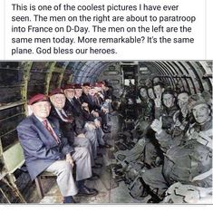 The men that parachuted in on D-Day, and them pictured now.