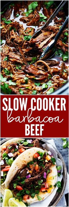 Slow Cooker Barbacoa Beef AMAZING and tender beef barbacoa that is better than any restaurant I have had! The flavor is amazing and it slow cooks to perfection! Slow Cooker Barbacoa, Crock Pot Slow Cooker, Crock Pot Cooking, Beef Barbacoa, Slow Cooker Recipes, Crockpot Recipes, Cooking Recipes, Healthy Recipes, Slow Cooker Mexican Beef
