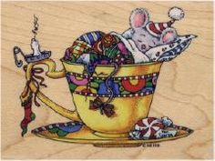 Mary Engelbreit Christmas Mouse in Teacup Stamp