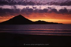 Pan de Azucar Island at sunset, coast of Atacama in Chile - Image Photo Library, Nature Photos, Chile, Coast, Celestial, Island, Mountains, Travel, Outdoor