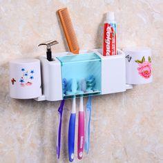 2016 nova Flower Design Set 4 escova de dentes + 1 titular creme dental lavagem gancho copo com 2 copos de armazenamento do banheiro organizador Set família alishoppbrasil