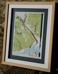 Hand cut 3D nautical chart of Southampton Water   made to order