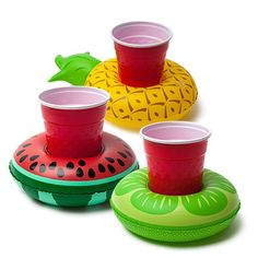 Keeps your drink afloat in the pool or hot tub 3-pack: pineapple, lime, & watermelon included Inflates fast, and is easy to clean Great for the pool, partie