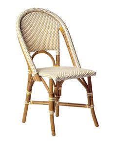 "Riviera Side Chair in Dandelion, sustainable rattan and woven plastic, 18.5""w x 23.5""d x 35.5""h overall (seat 18""h), $225"