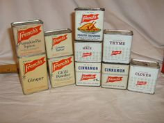 Lot of 10, Vintage FRENCH'S SPICE TINS, ASSORTED LABELS, POULTRY SPICE  #Frenchs