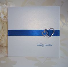 Elegance Wedding Invitation: Royal Blue Ribbon with Double Heart Buckle