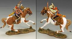 Custer's Last Stand TRW014 Mounted Indian with Bow & Arrow - Made by King and Country Military Miniatures and Models. Factory made, hand assembled, painted and boxed in a padded decorative box. Excellent gift for the enthusiast.