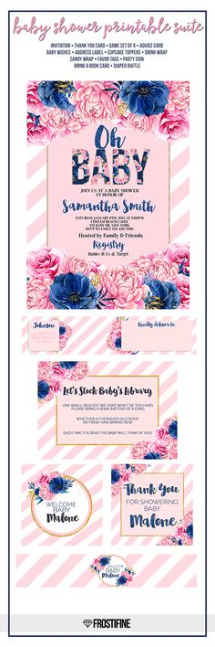 Navy blue and blush pink floral baby shower invitation with matching party decorations perfect for baby girl baby shower. Anemones, roses and peonies in pink and blue. Gold glitter details adds wow factor to this gorgeous set.