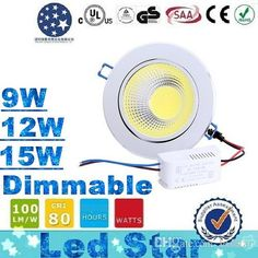 High quality ip65 downlight, ledstar provides pull down ceiling light and cheap downlights of different shapes and colors, buy the  (Silver Body) 2015 Newest Dimmable Led Downlights 9W 12W 15W COB Led Down Light Recessed Ceiling Light 120 Angle AC 85-265V + CE ROHS UL CSA you love here and decorate your house!