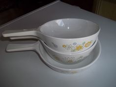 Corning Ware, Floral Bouquet 3rd edition design, set of 3 Sauce Pans with 1 Pyrex lid by PyrexKitchen on Etsy