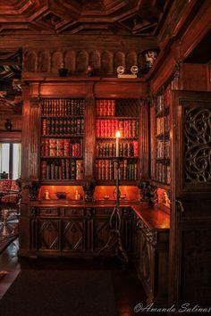 Hearst Castle | Exactly what my own library would look like if I could build a big one. Dark and woodsy with warm shades of brown and red. Tall wrought iron candle holders, with thick, old-fashioned wax candles, illuminating the room with yellow light rather than white.