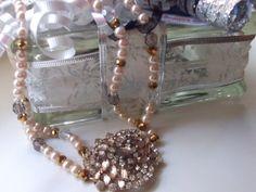 Chunky Rhinestone Pearl Necklace Valentine Bride by mscenna, $30.00