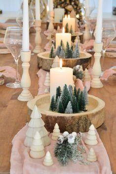 {Inspiration} Décorer sa table de Noël en rose et bois