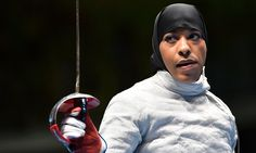 Ibtihaj Muhammad in her bout against France's Cecilia Berder.