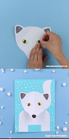 Arctic fox craft - - Arctic fox craft Invierno Make a cute paper Arctic fox craft with a pop-out snout using our printable template. Such a cute and easy Winter craft idea for kids of all ages! Winter Crafts For Kids, Winter Kids, Winter Art, Art For Kids, Winter Snow, Fox Crafts, Animal Crafts, Arctic Animals, Arctic Fox