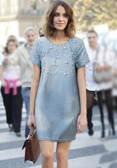 MalangFashion Light Blue Plain Beading Fashion Denim Dress