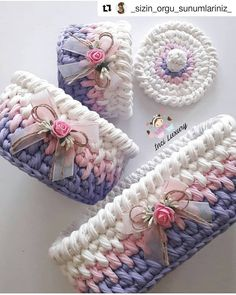 Crochet And Knitting Patterns - Latest ideas information Crochet Box, Crochet Basket Pattern, Knit Basket, Crochet Gifts, Crochet Yarn, Knitting Patterns, Crochet Patterns, Crochet Decoration, Crochet Handbags