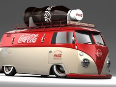 Coca Cola VW Bus with bottle on top Volkswagen Bus, Volkswagen Transporter, Vw T1, Vintage Coca Cola, Vw Vintage, Kombi Trailer, Vw Caravan, Vw Camper, Campers