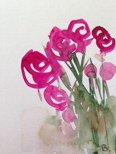 Original Bild Aquarell Wasserfarben Blumen abstrackt einmalig Natur Kunst