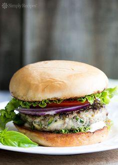 Turkey Zucchini Burger with Garlic Mayo ~ How to make a turkey burger juicy? With grated zucchini! This turkey zucchini burger has basil, onions, and garlic, served with garlic mayo ~ SimplyRecipes.com