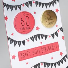 Happy 60th Birthday, Birthday Cards, A6 Size, Badges, Envelope, Strong, Luxury, Paper, Gold