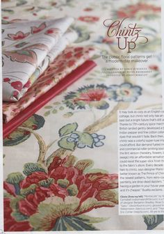Traditional Home JUne 2012 Lee Jofa Page 22  Bottom fabric: Treyes Print in Pink/Green - 2010151-73