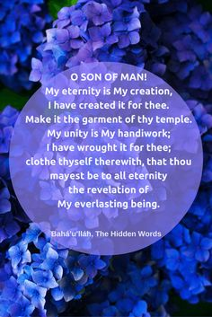 O SON OF MAN! My eternity is My creation, I have created it for the...