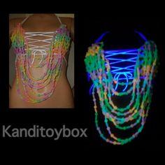 Glow in the dark rainbow kandi bra