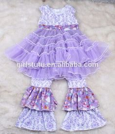 Newest Stylish Custom Giggle Moon Remake Violet Damsk Ruffle Cotton Outfits For Children Boutique Baby Girls Cothing Sets