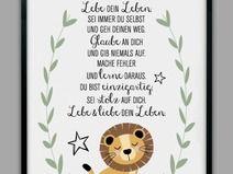 DU BIST EINZIGARTIG, Löwe Kunstdruck, Geschenk