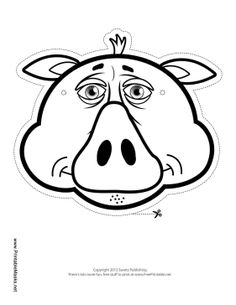 This pig outline mask is ready for you to color in and wear. The pig has a triangular nose, little ears, and a small bunch of hair on top of its head. Free to download and print