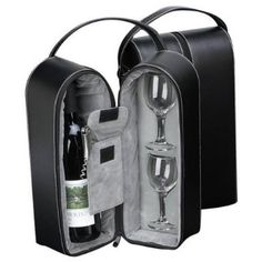 Black Leather Wine Carrier Caddy Bag w/ Two Glasses,Stopper/Opener -Nice Bar Set  Wine to go! You will love our travel wine leather bag which contains 2 wine glass, wine bottle opener and a compartment for your favorite wine. This is a perfect give to the gal or guy who has everything and enjoys drinking wine.   Wine bottle not included.   Size: 4.25″L x 7.25″W x 13″H Wonderful Gift Set! Wonderful Gift Set! Black Leather  http://www.buybestwine.com/black-leather-wine-carrier-caddy-..