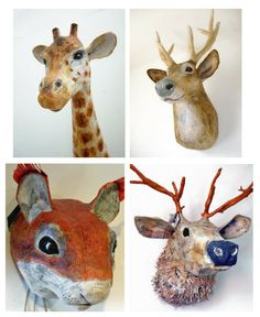 papier mache animal heads