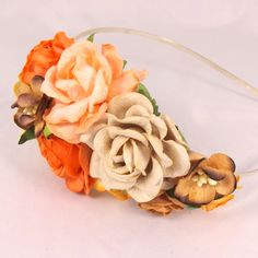 Efterårs - hårbøjle i orange og brune nuancer