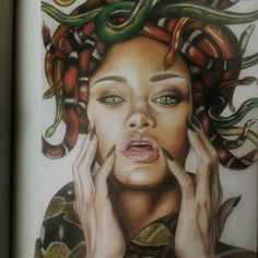 Finished! @badgalriri #draw #drawing #art #artist #portrait #snake #face #pretty #illustration #sketch #sketchbook