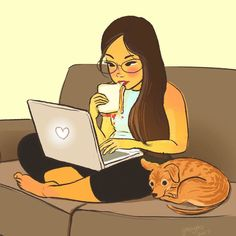 This artist describes herself as an art director, painter, illustrator, occasional animator, vegan and animal lover and most of that shines through her works. Cartoon Kunst, Cartoon Art, Anime Kunst, Cartoon Drawings, Art And Illustration, Character Art, Character Design, Living With Dogs, Alone Art