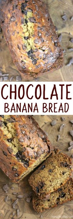 My husband couldn't get enough of this!!! Chocolate Chip Banana Bread - An Easy Recipe for Moist Chocolaty Banana Bread!