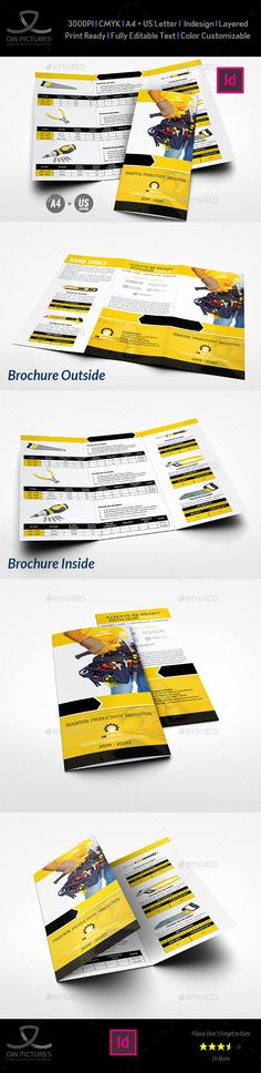 Tri-Fold Brochure Description: Hand Tools Products Catalog Tri-Fold Brochure Template was designed for exclusively corporate and small scale companies. Also it can be used for variety purposes like printing, designing ID. Click on preview image to see further details. I hope you like it guys. Tri-Fold Brochure Featured: Fully layered InDesign files Easy customizable and editable A4 + US Letter sizes with bleed setting CMYK colors 300 DPI resolution Print ready format Images are not included…