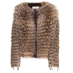 Yves Salomon Four Marmotte Nature Knit Jacket With Fur ❤ liked on Polyvore
