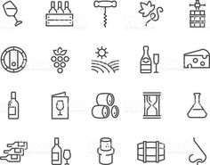 Line Wine Icons royalty-free stock vector art