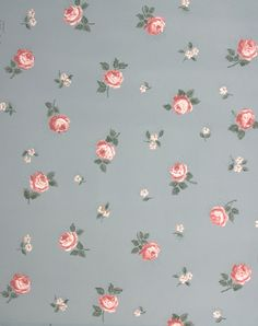 Vintage Wallpaper - Small Pink Roses on Blue - Tapeten Ideen
