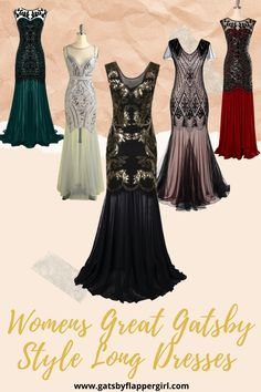 Looking for the perfect outfit for your next party or event? Click here to see all our Stunning 1920s Long Evening Dresses and be the talk of the town! Great Gatsby Long Dresses, Evening Dresses, Formal Dresses, Flapper Style, 1920s Dress, Fashion Dresses, Party, Outfits, Evening Gowns Dresses