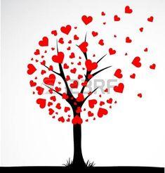 albero della vita: Albero astratta fatta con il cuore. Vettore