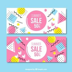 Pink and white sale banners in memphis style