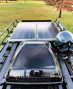 #VanDOIt's Off Grid Smart #SolarSystem boasts boasts 340 watts, powering any items within the van requiring electricity. Our smart solar allows the owner to charge their solar 3 ways, via shore power, auto energy and Solar. #ElectricBike friendly! #vanlife #solarpower #ecofriendly #adventurevan #campervan #conversionvan #camping #campinglife #cycling #roadtrip #adventurelife #adventure #travel #van