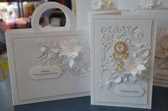 Pamiątka komunijna Album Scrapbook, Cute Cards, Christening, Decorative Boxes, Scrapbooking, Tags, Paper, Frame, Picture Frame