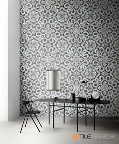 Use small tiles with retro-inspired encaustic patterns to bring old world charm into modern spaces. Group together to create a focal point which showcases the detailed design of these beautiful tiles. Contrast the look with clean simple lines in the furnishings. #smalltiletrend #tiles #trendingdesign #homedecor #encaustictiles #picassotiles #trendyhome #homegoals #interiordesign Picasso, Small Tiles, Latest Design Trends, Retro Pattern, Trendy Home, Decorative Tile, Modern Spaces, Bathroom Accessories, Feature Walls